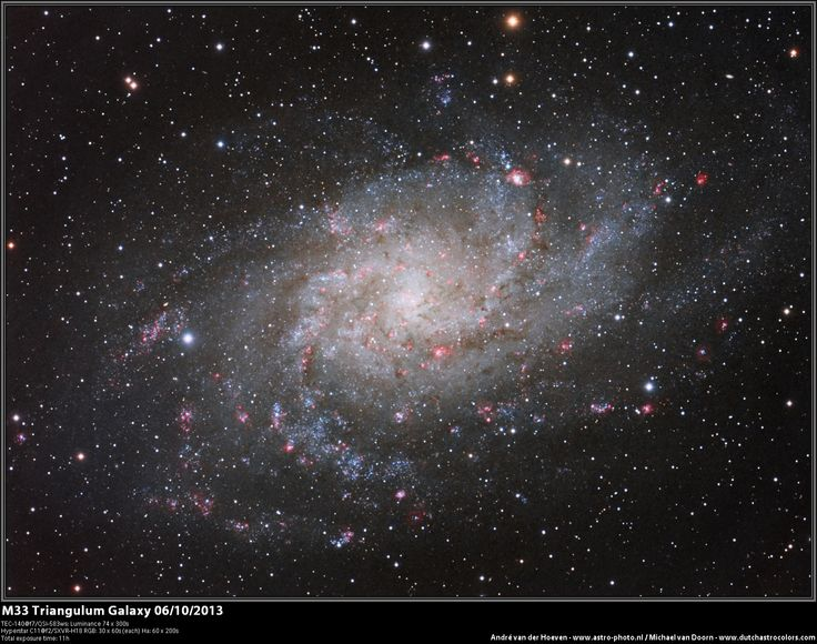 The Triangulum Galaxy, catalogued Messier 33 or NGC 598, is a spiral galaxy located approximately 3 million light years from Earth in the constellation Triangulum. .