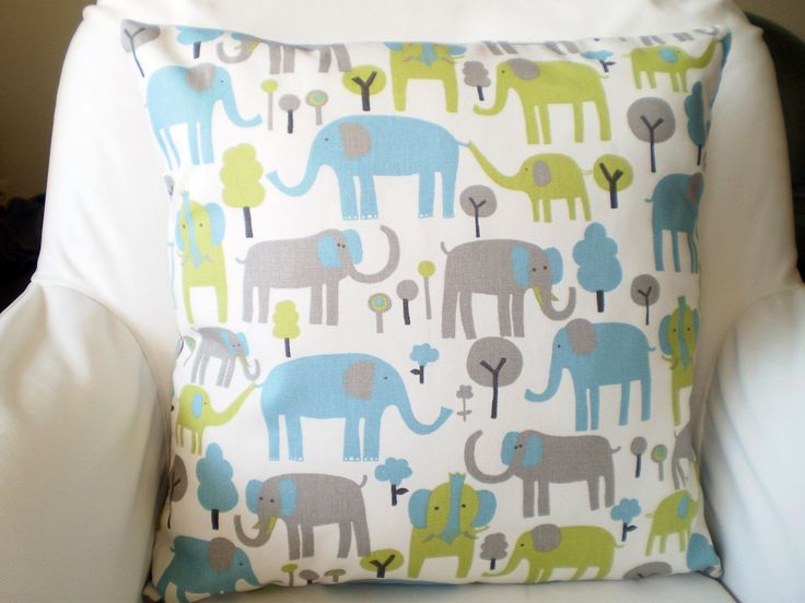 Blue Green Gray Elephant Pillows, Nursery Pillows, Childrens Throw Pillow, Cushion Cover, Grey, Trunk Tails, Baby, One or More All Sizes by PillowCushionCovers on Etsy https://www.etsy.com/listing/210667754/blue-green-gray-elephant-pillows-nursery