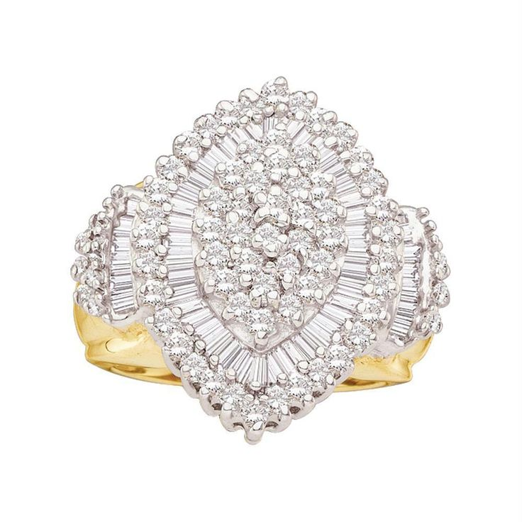 10kt Yellow Gold Women's Round Baguette Diamond Concentric Oval Cluster Ring 1.00 Cttw - FREE Shipping (US/CAN)