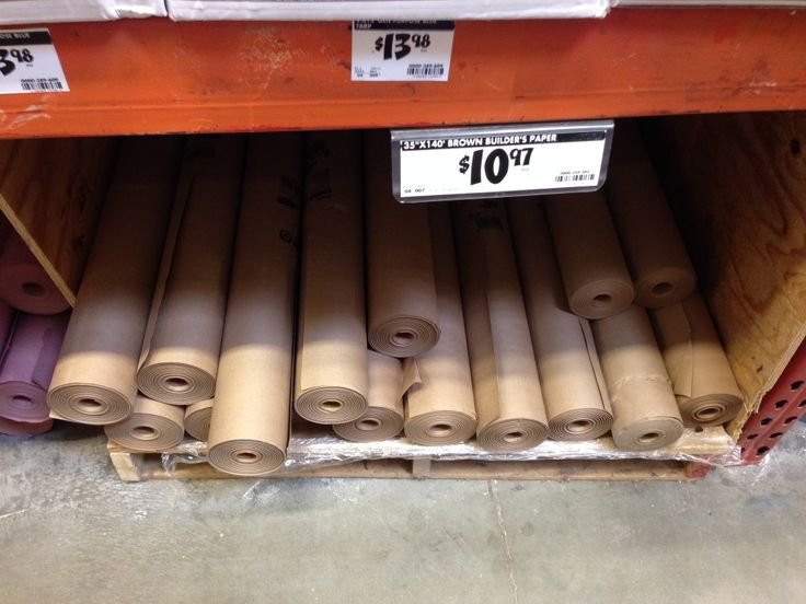 brown paper roll at home depot use for table cloths at kids party or to wrap Christmas gifts.