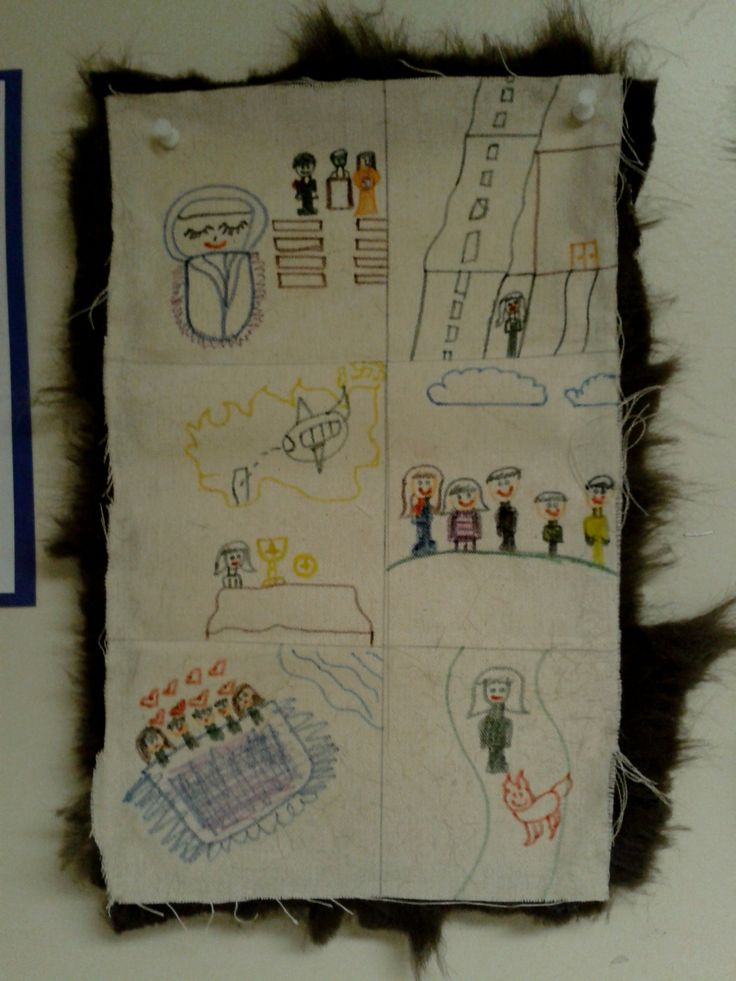 Grade 4--Alberta. Students created their own story robe with each picture depicting an important event in each year of their life. Materials: skinny felts, burlap-type material, craft fur, white glue. (only glue around the edges, otherwise you burn through the fur) http://www.glenbow.org/exhibitions/online/robes/srobe.htm