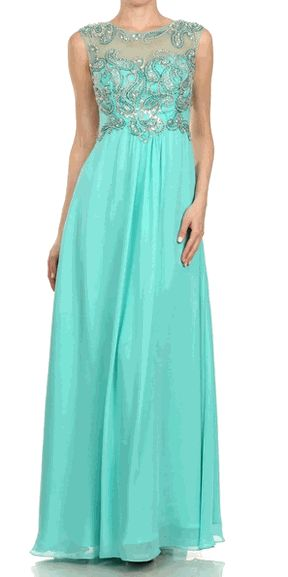 Jade Chiffon Embellished Illusion Neckline Evening Gown - Discountdressup Store