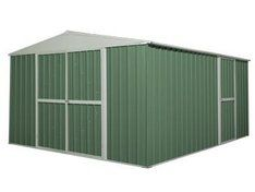 Large green garden shed New Zealand: This tough shed is made from high-grade, galvanized steel and will keep its shape throughout the years. It's got a 12 year warranty to prove it. The shed has front double doors to maximise ease of access, and a single back door that can be installed on either side. All doors have latches that can be securely locked.