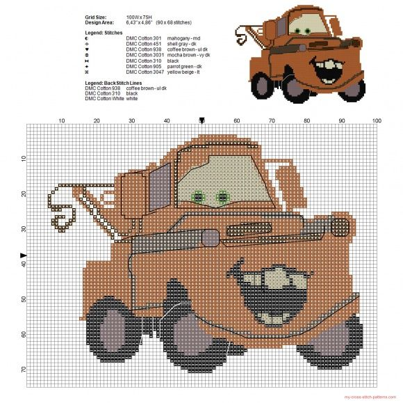 Rusty the old tow truck of Disney Cars cross stitch pattern (click to view)