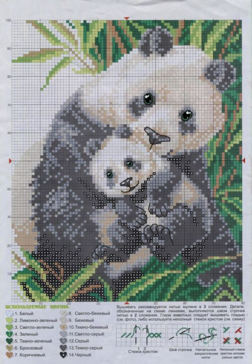 Cross-stitch Panda mom & cub