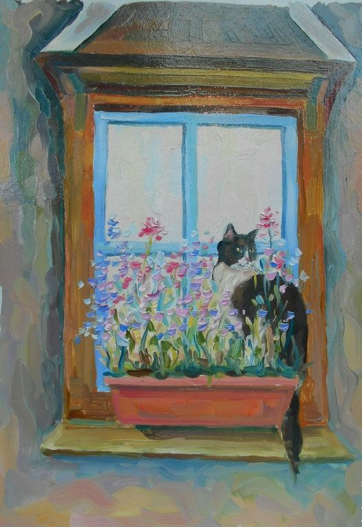 Original Oil Painting Cat in flowers on window Still by FrozenLife