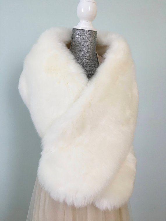 480e26a89d2 Off White Faux Fur Stole, Fur Shawl, White Bridal Shawl, Wedding Fur ...