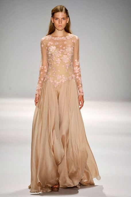 Tadashi Shoji Spring 2012 Floral Embroidered Tulle and Gazar Boatneck Long-sleeve Gown