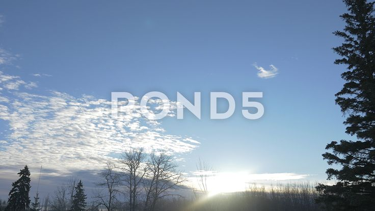 4k Time Lapse Sunrise Winter Blue Sky Clouds Fir Trees Sunlight Lens Flare - Stock Footage | by RyanJonesFilms