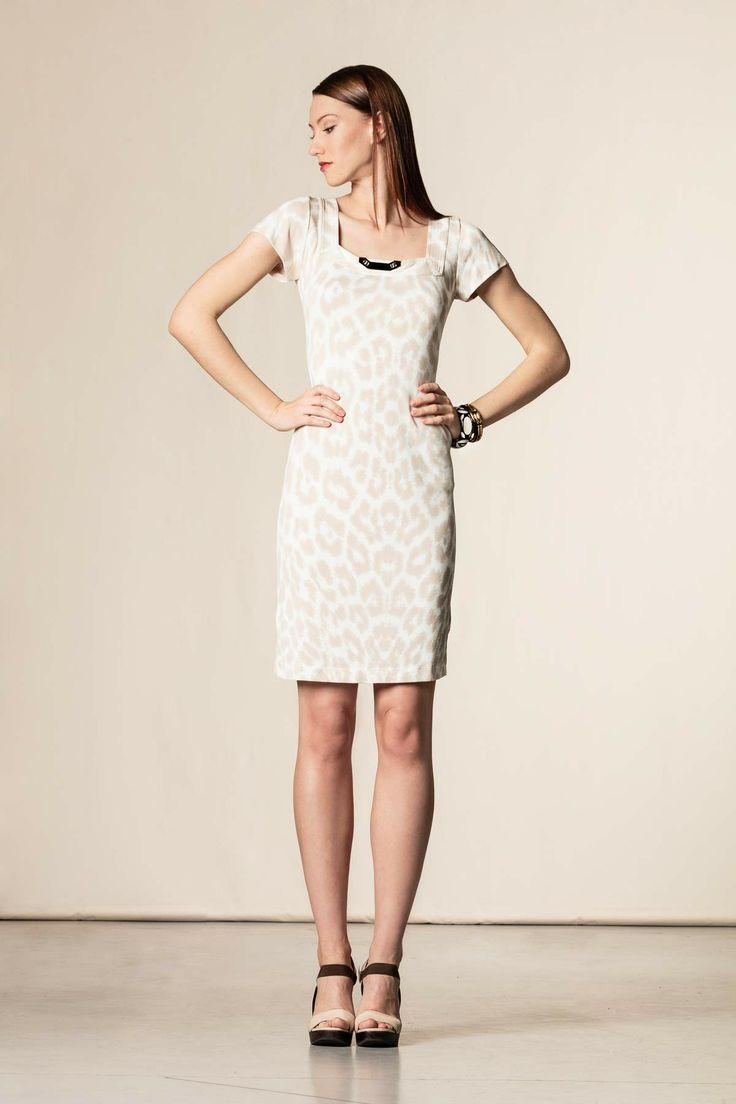 Vestito stampa animalier bianco/beige #dressingfab #shopping #shoponline