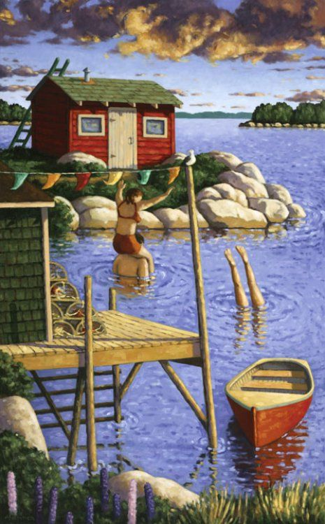 Swimming at the Point - oil on canvas 25 x 40 inches, by Nova Scotia artist Paul Hannon