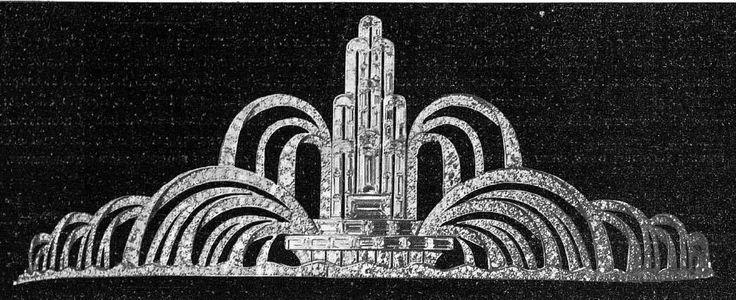Important diadème de la maison Mauboussin, présenté à l exposition des Arts Décoratifs de 1925, cette photographie était publiée dans le journal la Rennaissance