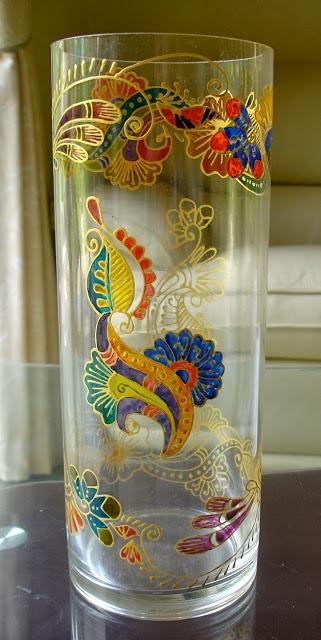 Glass Painting Vases With Henna | Zaufishan