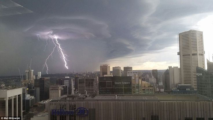 Lightening flashes over Sydney's CBD during one of the thunderstorms...