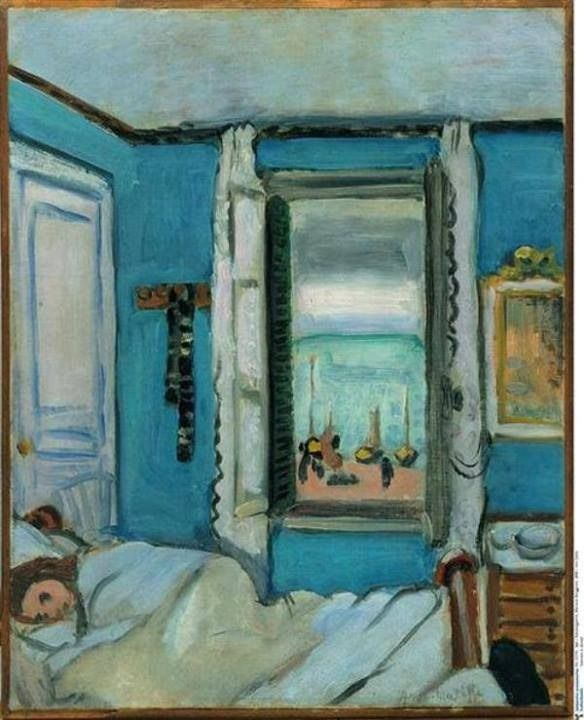 Henri Matisse. I love this painting with the deep Mediterranean blue walls. I want a bedroom like this :) R McN