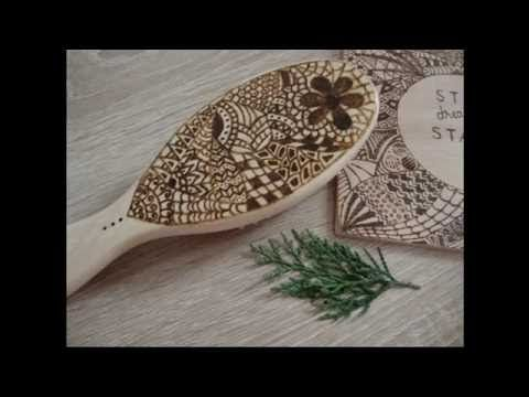 Pyrography on a wooden hair brush - YouTube