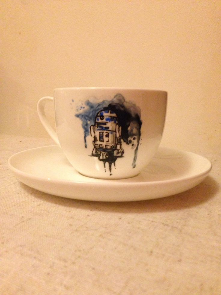 Hand painted R2D2 Star Wars Fine Bone china tea cup and plain saucer by MyMiniShedio on Etsy https://www.etsy.com/listing/264039493/hand-painted-r2d2-star-wars-fine-bone
