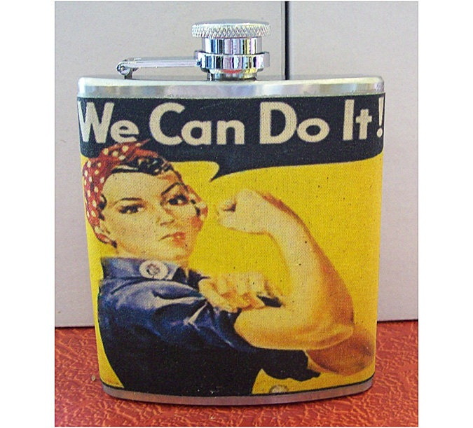 Propaganda poster flask world war 2 rosie the riviter retro vintage pin up. $18.95, via Etsy.