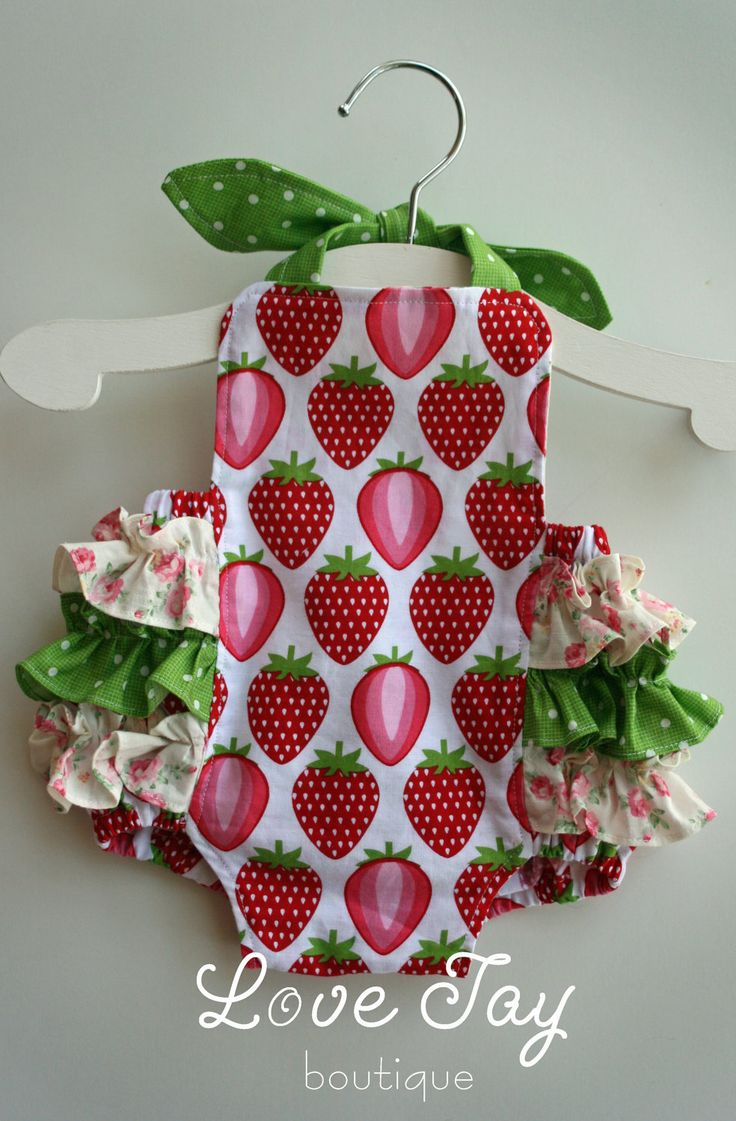 """Baby Girl Sunsuit Ruffle Romper """"Strawberry"""" hand made boutique shabby chic"""