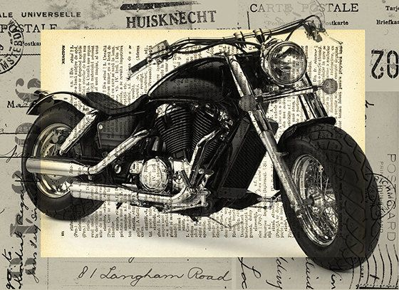 Harley Davidson bike Collage Art Print on old Dictionary by rcolo, $6.91
