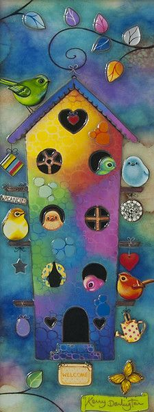 """'Birdhouse In Your Soul' by Kerry Darlington.  Unique edition print with resin & 3D elements.  Image Size: 8"""" x 20"""" Framed Size: 16.5"""" x 28"""" Edition Size: Only 295 Worldwide plus 30 Artist Proofs.  Available at wyecliffe.com  http://wyecliffe.com/collections/kerry-darlington-art/products/birdhouse-in-your-soul-kerry-darlington  Call the gallery on 01932 847939"""