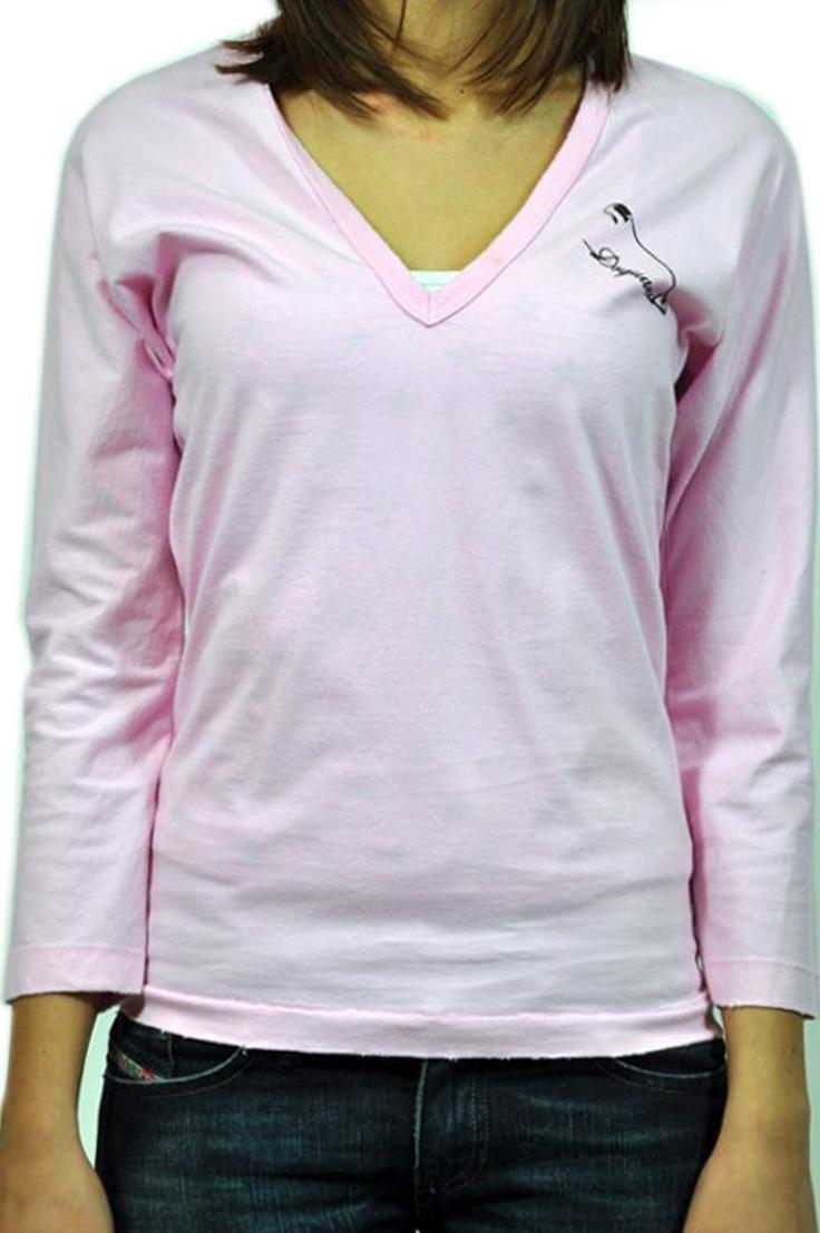 Dsquared, t-shirt manica lunga rosa, con collo a V