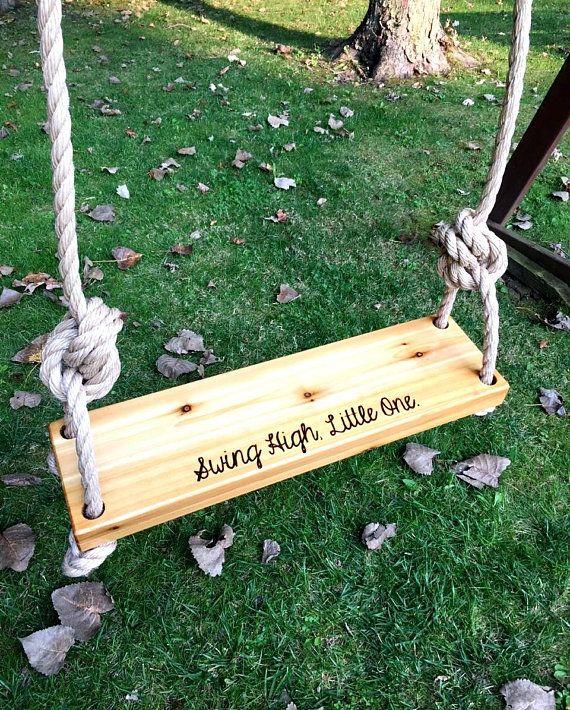 Swing High Little One Wooden Tree Swing Engraved Tree Swing Outdoor Wooden Swing Outdoor Kid Wooden Tree Swing Wood Tree Swing Tree Swing