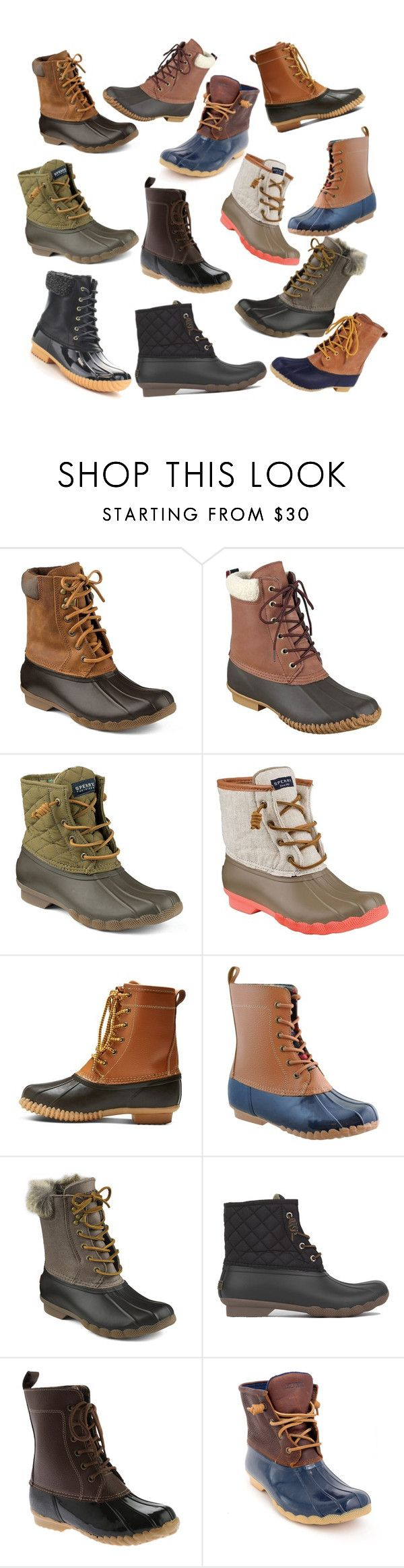 """Duck Boots!"" by olivianaz ❤ liked on Polyvore featuring Sperry Top-Sider, Tommy Hilfiger, Merona, Sporto and Nature Breeze"