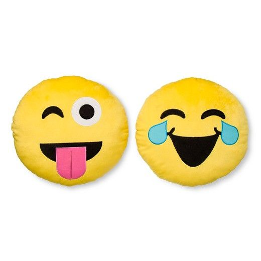 The Emojination Wah Haha & Tongue Out pillow 2 pack gives you 2 great Emoji pillows.  The perfect way to express yourself, these can be used on the Emojination Happy Happy bedding or as stand alone pillows. These pillows offer your child the perfect way to express themselves.  Pillows are 100% polyester, spot clean only.
