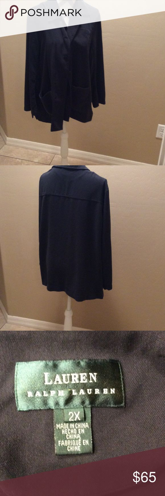 Ralph. Lauren  size 2x  100% silk black  jacket Like new this is a Rauph Lauren. Big pockets in front. Can be washed to clean it's a 100 % silk  so soft Ralph Lauren Jackets & Coats Blazers