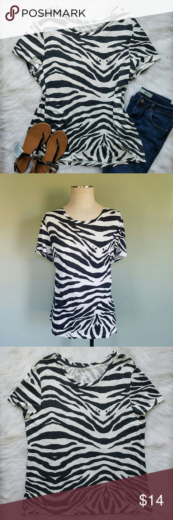 Black t shirt old navy - Old Navy Zebra Print Tshirt Nwt