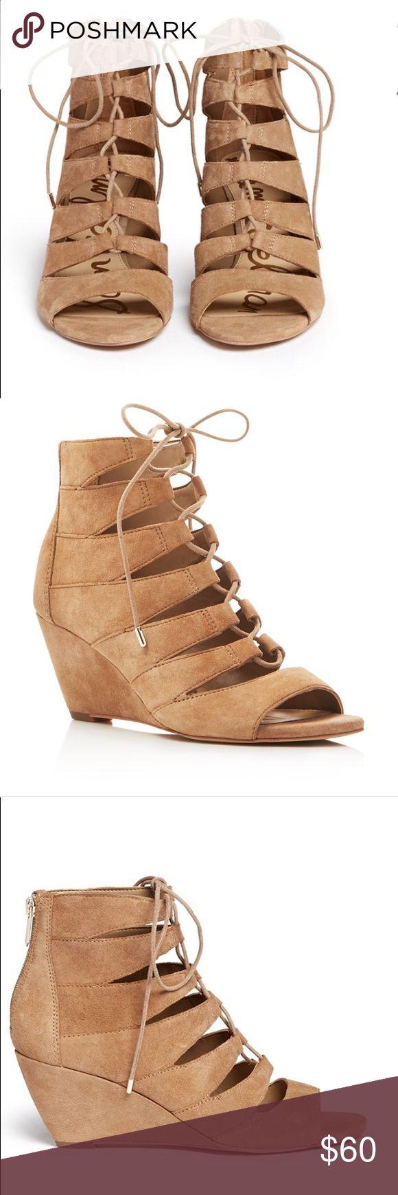 🚨1DAY SALE🚨Sam Edelman 'Santina' Wedge Sam Edelman 'Santina' caged lace-up suede wedge sandals in good condition Sam Edelman Shoes Sandals