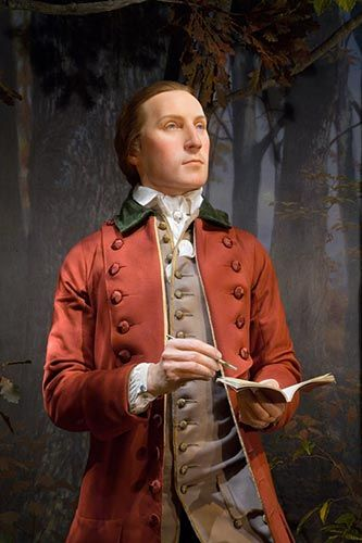 With a face ultimately derived from a life mask and physical details based on surviving original material, Mount Vernon created three life like representations of Washington including this one of him as a nineteen-year-old surveyor in Virginia.