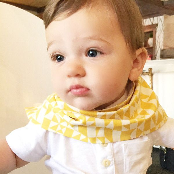 Scarf Bib - Drool Bib - Baby Scarf - Dribble Bib - 100% Organic Cotton - Velcro Closure - Lined with ultra lightweight yet absorbent organic cotton flannel - pe