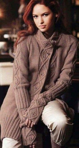 Hand Knit Coat Long Cardigan Jacket Leaf Pattern Merino Wool Pick your