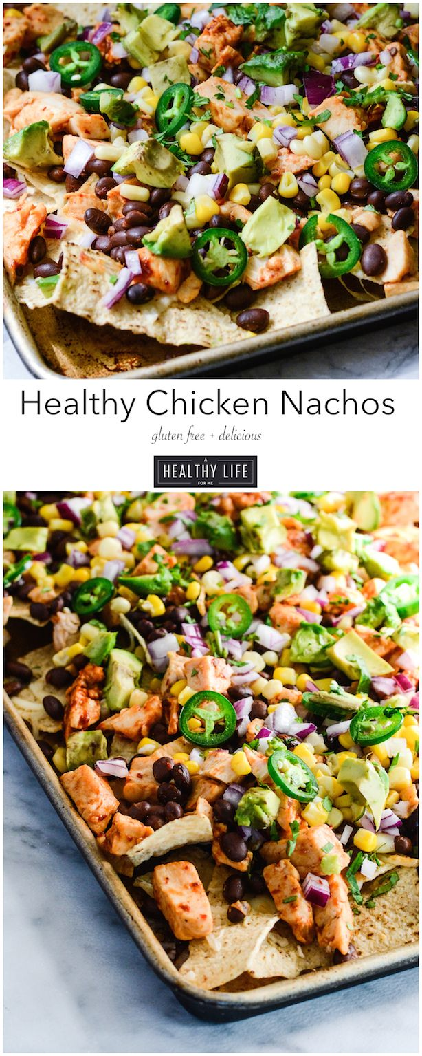 Healthy Chicken Nachos are loaded with healthy fresh healthy ingredient and take less than 10 minutes to prepare