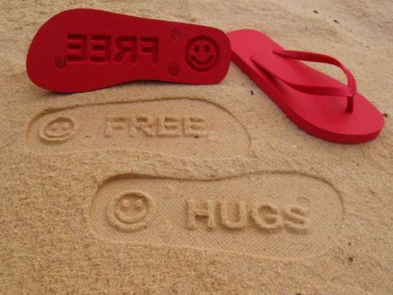 Impressionable Beach Sandals - Custom Sand Imprint Flip Flops Print Personalized Messages (GALLERY)