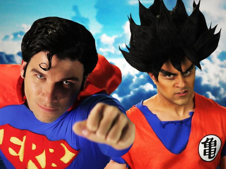 """Goku Def. Won. hilarious. """"There's nothing fun about a super hero that's scared of green rocks"""" """"You got your ass kicked by a bat with no powers"""". lmao. Goku vs Superman.  Epic Rap Battles of History Season 3."""
