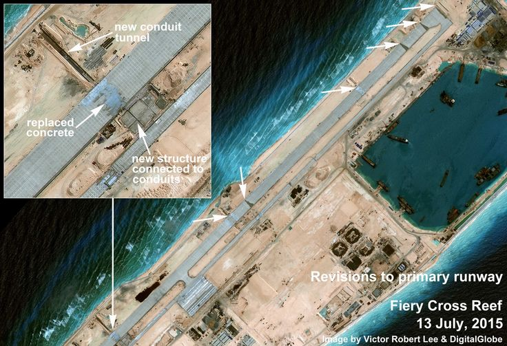 Fiery Cross close-up. Spratlys.  https://medium.com/satellite-image-analysis/china-s-ambitious-military-buildup-on-fiery-cross-reef-south-china-sea-80a7525ba68d#.rjdd2phgs