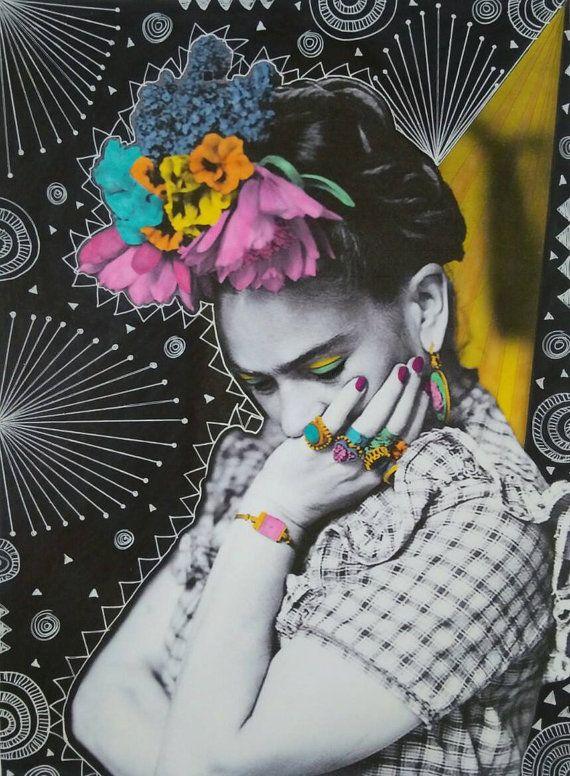 Thinking Frida Print by VixHarrisDesigns on Etsy