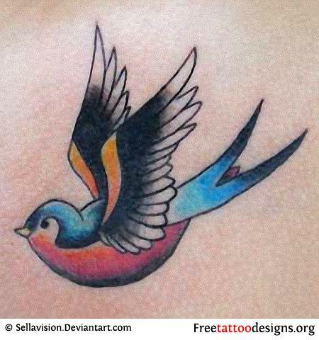 Swallow tattoo in CMYK