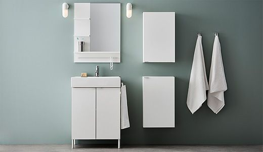 LILLÅNGEN is a series of modern bathroom furniture that has every unit you need for your bathroom. It includes wash basins, base cabinets, high cabinets and mirror cabinets of various sizes. Comes in white or in an elegant black brown hue.