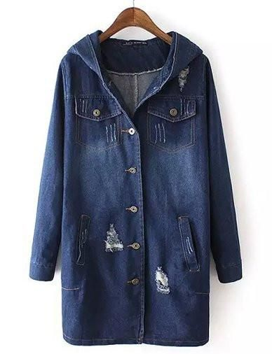 Casual Distressed Detail Longline Denim Jacket with Hood Jean Blue