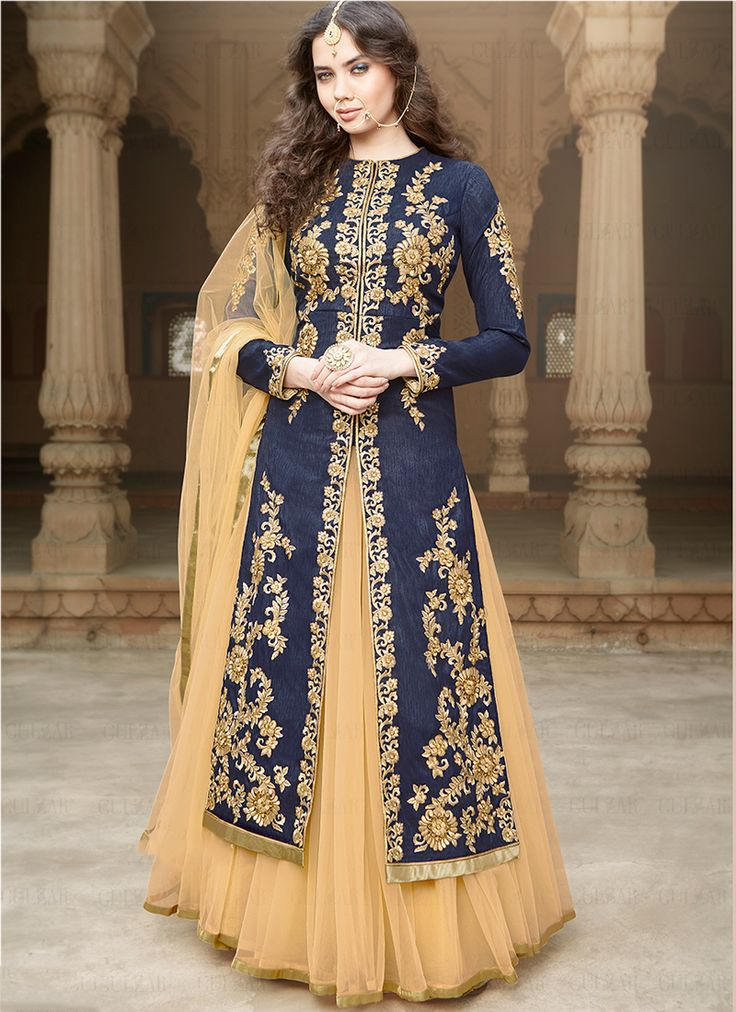 Navy Blue Banglori Silk Wedding Wear Embroidered Work Floor Touch Anarkali Suit