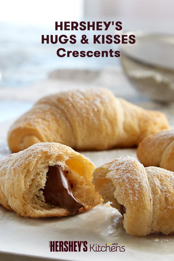 Make breakfast rich and enticing with these family-friendly HERSHEY'S HUGS & KISSES Crescents. Nothing will add delight to a chilly morning like breaking open a warm, flaky crescent to creamy HERSHEY'S HUGS Brand Candies and HERSHEY'S KISSES Brand Milk Ch