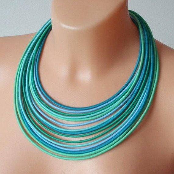 COLORIKA jewellery, COLORIKA necklace, Turquoise necklace Blue multistrand necklace Blue layer