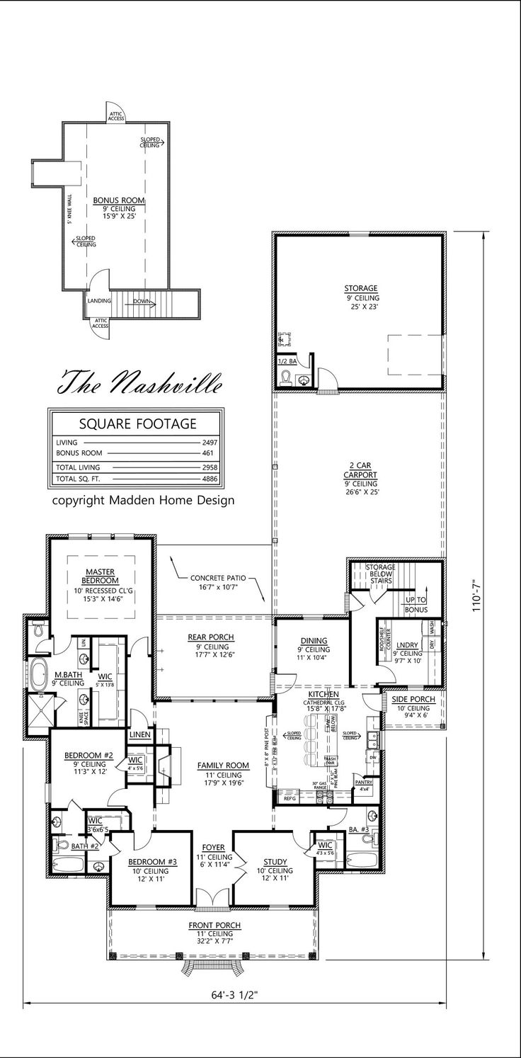 4 bedrooms, bonus, 3 baths, 3176 living + 525 bonus = 3701 total living; total square feet 5711; the Natchitoches, Acadian style home design by Steve Madden