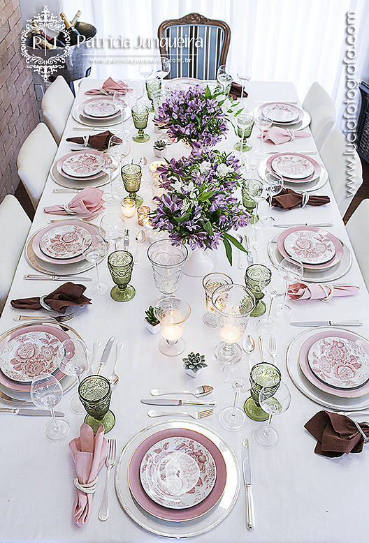 Spring pastel formal table setting