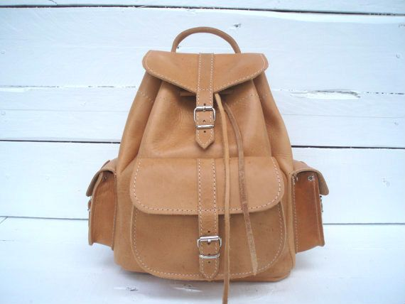 Backpack Handmade Leather Small Natural three by MagusLeather, €89.61