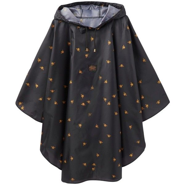 Joules Waterproof Bees Print Poncho, Black/Gold ($31) ❤ liked on Polyvore featuring outerwear, waterproof poncho, lightweight poncho and hooded ponchos